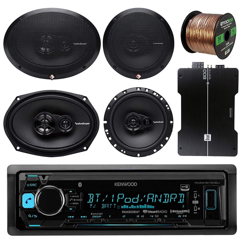 """Kenwood KMMBT322U Bluetooth AM/FM Radio Car Receiver Bundle Combo W/ 2x Rockford Fosgate 6.5"""" 180 Watt 3-Way Full-Range Coaxial Speaker + 2x 6x9"""" Audio Speaker + 50Ft 16g Speaker Wire (With Amplifier)"""