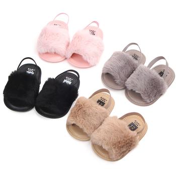 d5636487d3b Verano bebé mocasines Zapatos bebé recién nacido niñas peludas de peluche  suave sandalias de suela suave