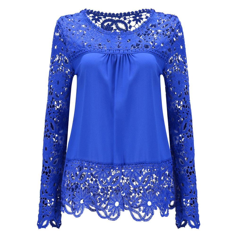 Women Solid <strong>Lace</strong> <strong>Blouses</strong> <strong>Plus</strong> <strong>Size</strong> Crochet Stitching Embroidery Floral Sexy Chiffon Cool <strong>Blouse</strong> Long Sleeve Shirts Tops