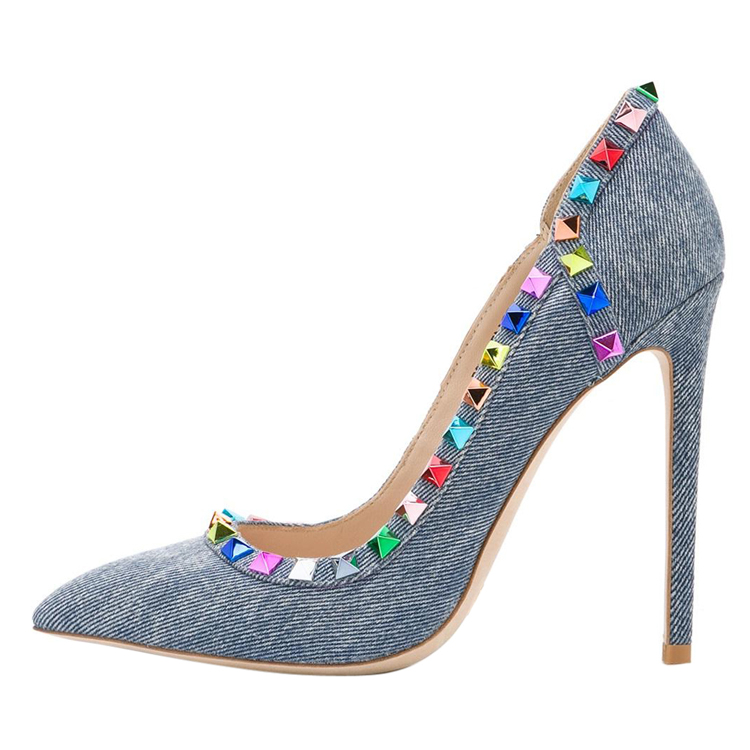 New arrival lady high heel party dress <strong>shoes</strong> with colorful rivets