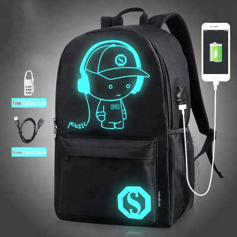 HOT SELL Student Laptop Bag Night Light USB Outdoor <strong>Backpack</strong>
