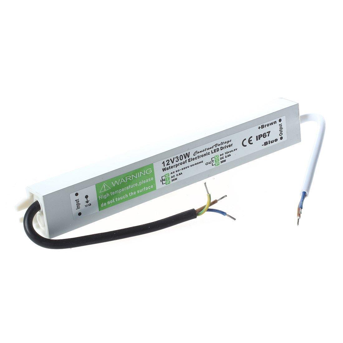 TOOGOO(R)Waterproof LED Transformer Electronic Transformer 30W 170-250V AC to 12V DC