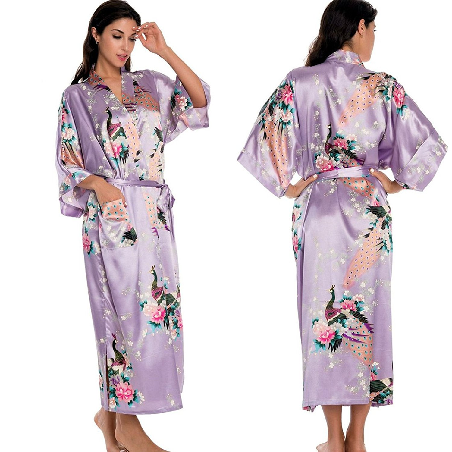 2c175c6ad1 Get Quotations · Comeon Women Gown Robe Kimono 4 Colours Premium Version  Peacock Premium Dressing Gown Robe