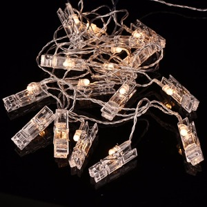 LED Photo Clip String Lights Transparent Cable with 20 LED Fairy Lights Inside Clear Clips