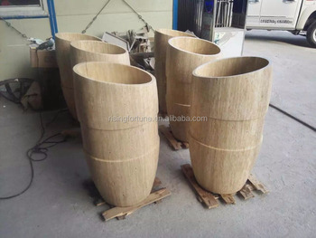High End Travertine Stone Pedestal Sink