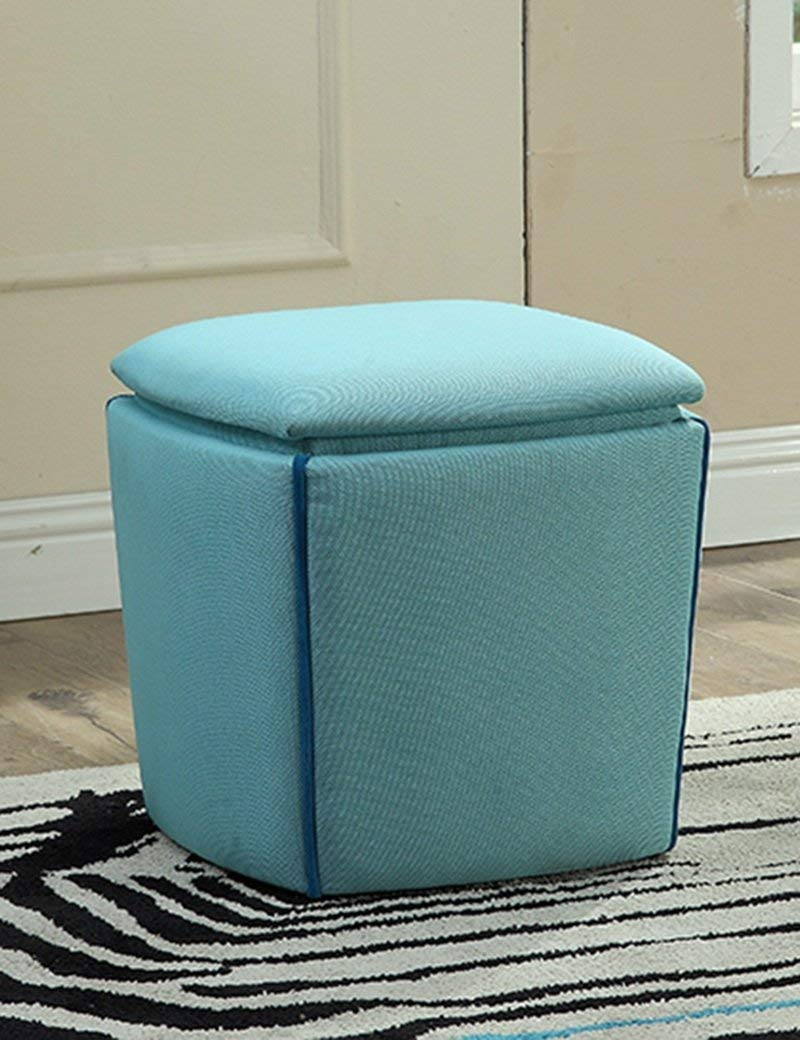 QTQZ Brisk- Foldable Square PU Storage Stool Multifunctional Shoes for Stool Leather Sofa Sit People Storage Chair Sofa Stool (Color Optional) (Color: C)