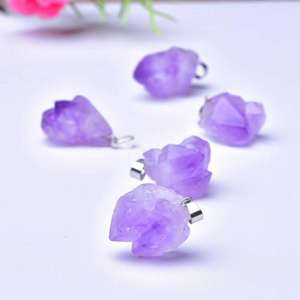 Hot Sale Natural Small Amethyst Crystal Pendant Purple Crystal Cluster Pendant