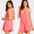 Wholesale Custom Strap Playsuits for Women Adult Playsuit Sexy Plain Dyed Cotton Pink Dresses Play Suit