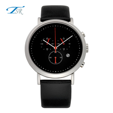 Japan Movement Quartz Watch Genuine Leather Strap Stainless Steel Chronograph Watch