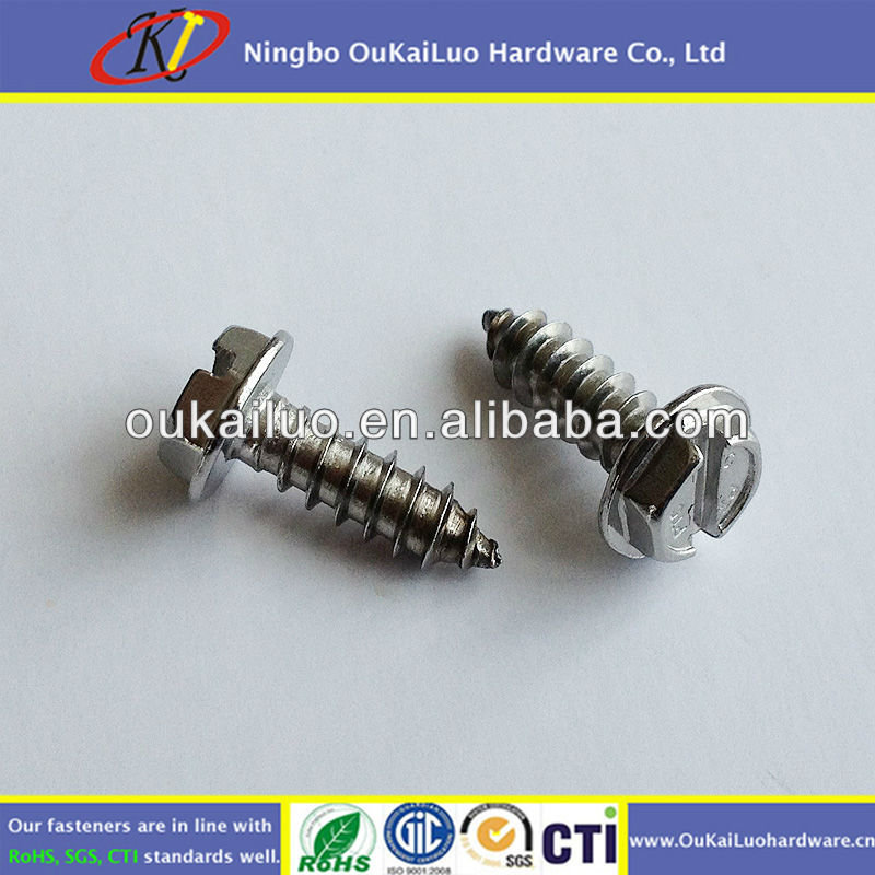 Wholesale ANSI/ASME B18.6.4 Stainless Slotted Hex Washer Head Self Tapping <strong>Screws</strong> #8x1/2""