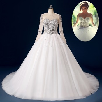 Zt02 Latest Long Sleeve Bridal Dress Brazilian Wedding Gown Ball ...