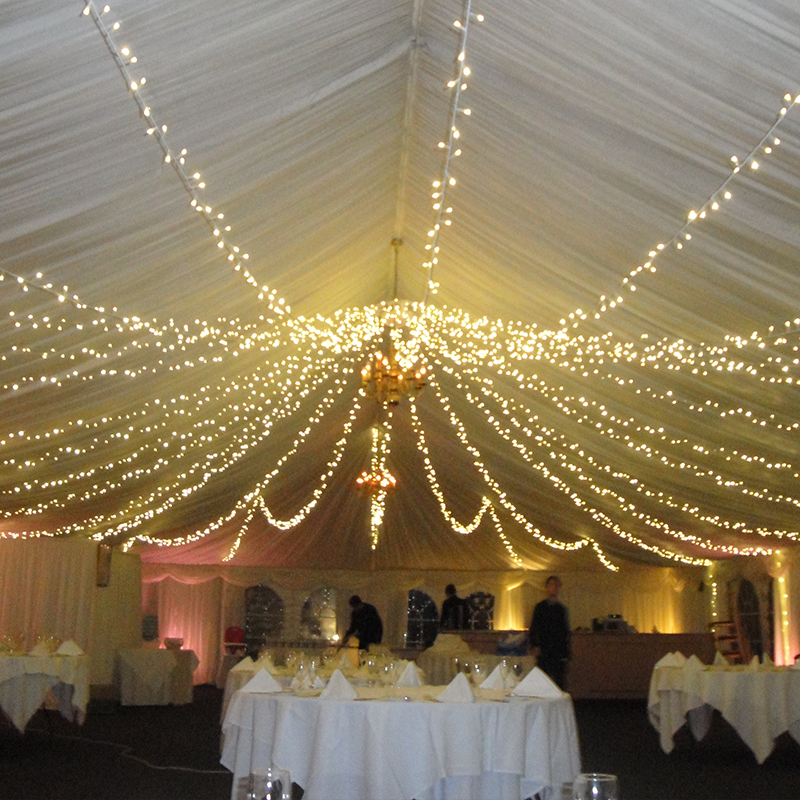 Outdoor wedding decoration decorate ceiling net lights warm white connectable fairy lights