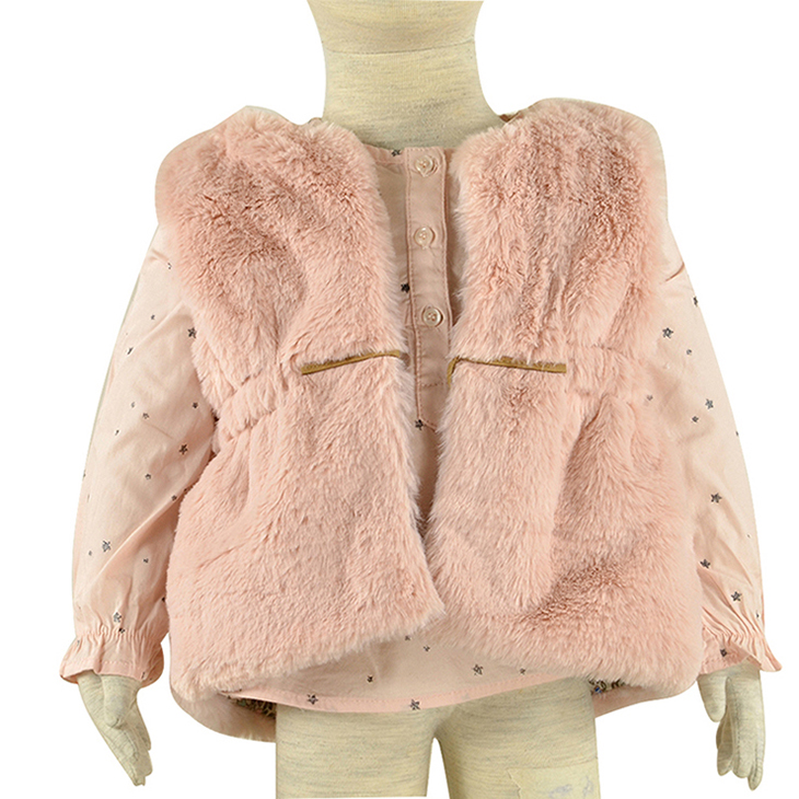 New Autumn Winter Girls Faux Fur Kid Coats Cute Thicken Warm Baby Outerwear