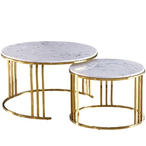 Chinese Modern Round Metal Wired Frame Marble Coffee Table Side Table