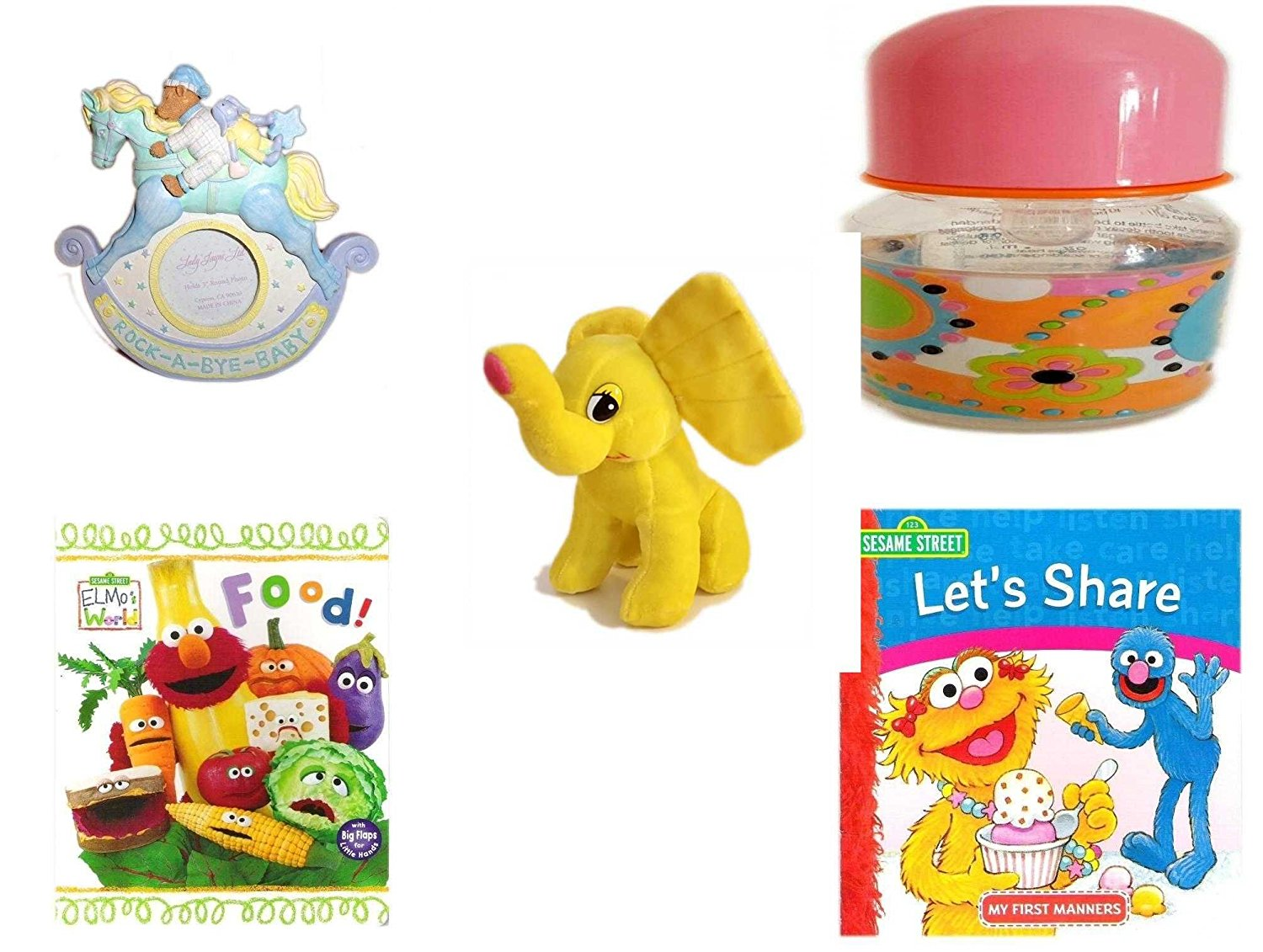 "Children's Gift Bundle - Ages 0-2 [5 Piece] - Rock-A-Bye-Baby - Rocking Horse Photo Frame 3"" Round - ID Gear Baby Bottle Pucci Look 4 oz - Yellow Elephant Plush - Elmo's World First Flap-Book - Foo"