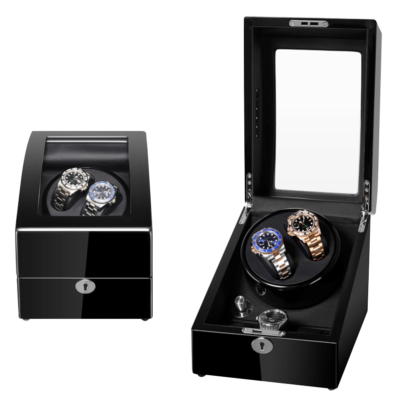 도매 2 + 3 Luxury Black Lacquer Wood Box Automatic Watch Winder Motor