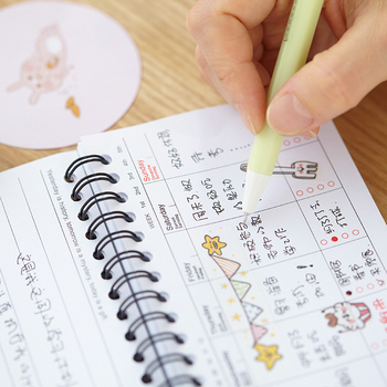 graphic regarding Cute Weekly Planner identify Lovable Kawaii Cartoon Weekly Planner Coil Laptop computer Schedule Filofax For Children Present Korean Stationery - Invest in Laptop computer,Cartoon Planner,Coil Laptop computer Products