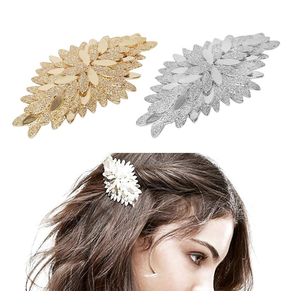 ShungFun Women Vintage Metal Hollow Carving Fan Leaf Flower Pattern Hair Clips Retro Pigtail Spring Clips Hair Holders