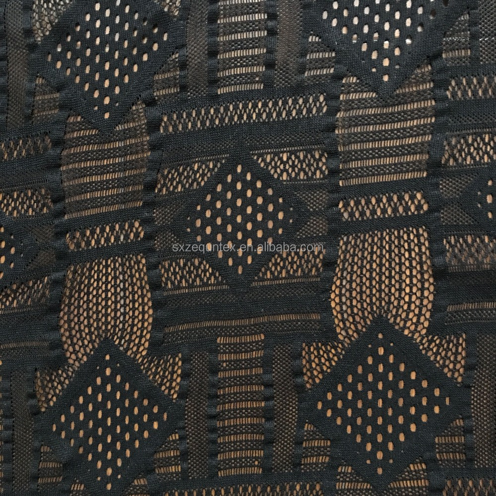 Polyester black 3D checks african french swiss lace fabric, lace mesh fabric from China manufacturer