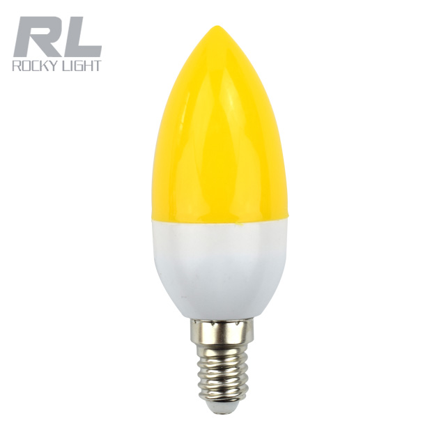 Yellow color led candle bulb