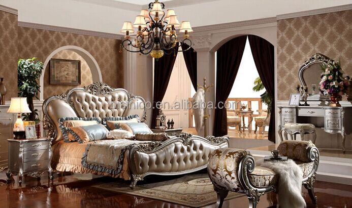 Style européen En Bois Massif avec Cuir Véritable Lit Chambre Royale ...