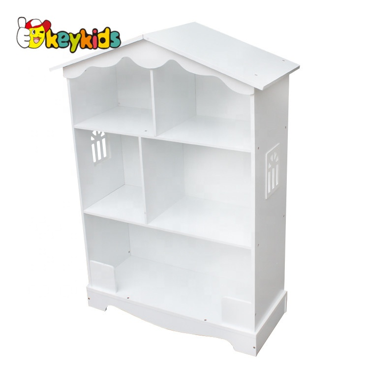 New Design Dollhouse Shaped Wooden White Bookcase For Children