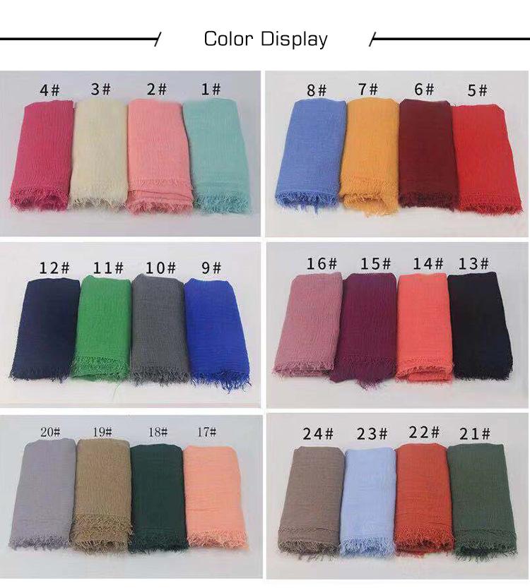 Multi color nieuwe moslim viscose katoen vrouwen sjaal hijab