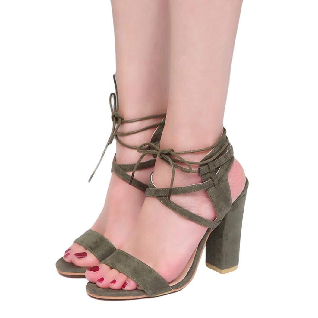 HIRIRI Womens Ladies Block High Heel Sandals Platforms Bandage Shoes Buckle High Heels