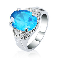 Royal blue zircon ring/ turkish gold plated silver ring/ 925 sterling silver jewellery