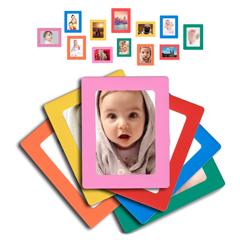 Raxwalker Magnetic Photo Frames and Refrigerator Magnets Holds 4x6 3.5x5 2.5x3.5 Inches Photos,12 Pack(Colorful)