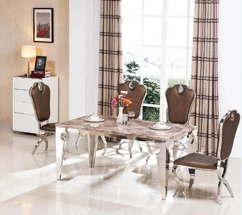 Cheap Price Dubai Stainless Steel Dining Table And Chair Set
