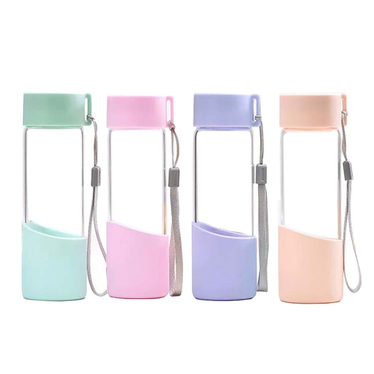 Wholesale 300ml Fancy Glass Water Bottle With Silicone Sleeve