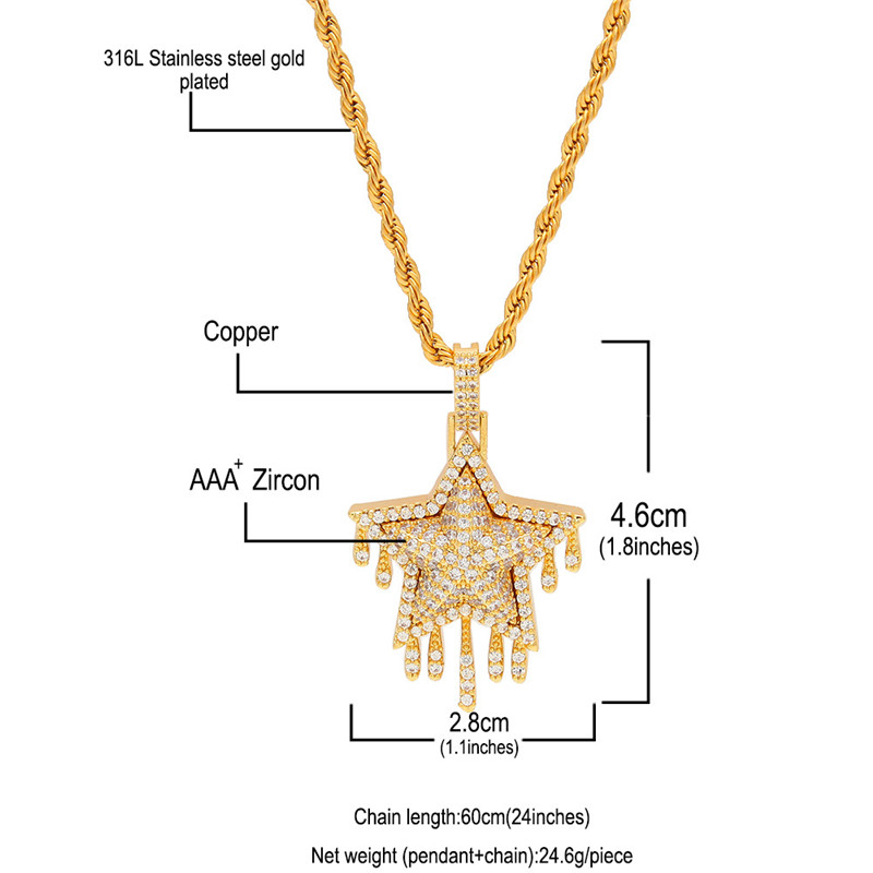 New Fashion Iced Out Cubic Zircon Copper Gold Silver Plated Drip Star Pendant Necklace Bling Jewelry for Men