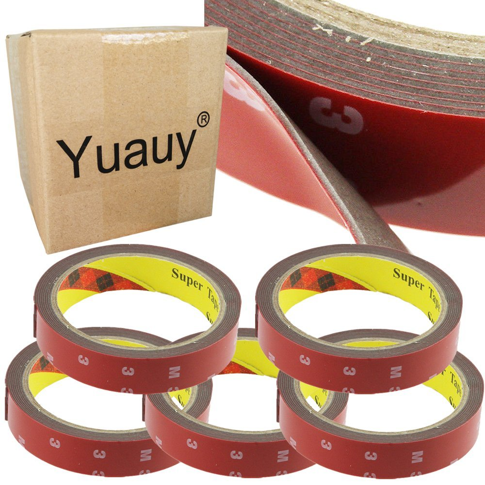 Yuauy 5 PCs 3Mx20MM Automotive Plus New Truck Car Acrylic Foam Double Sided Attachment Tape Adhesive Auto Van