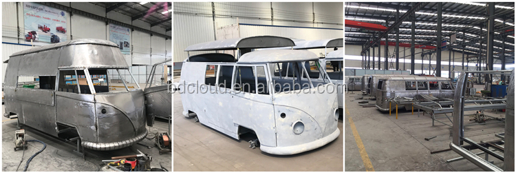 Retro food truck with stainless steel kitchen equipments