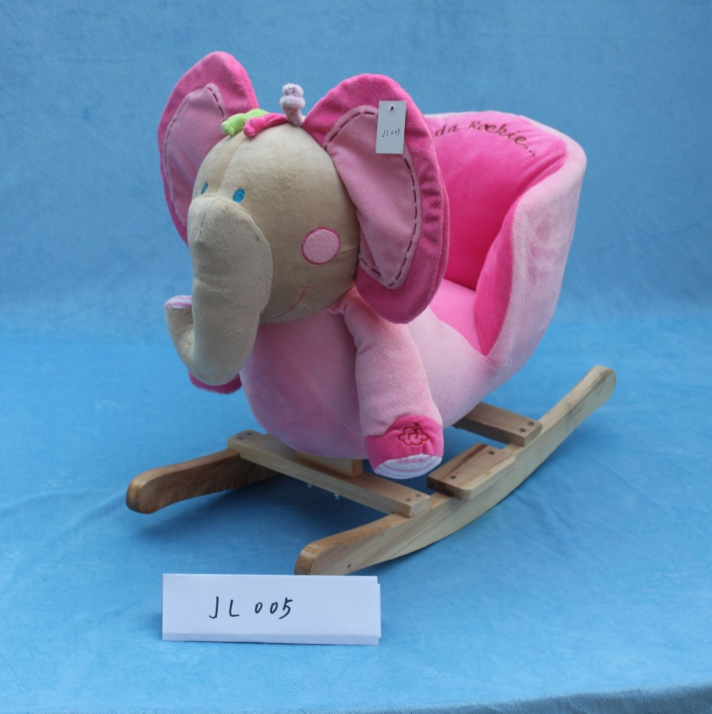 lovely promotional customized stuffed plush rocking elephant animal chair with music&wooden base(pink)