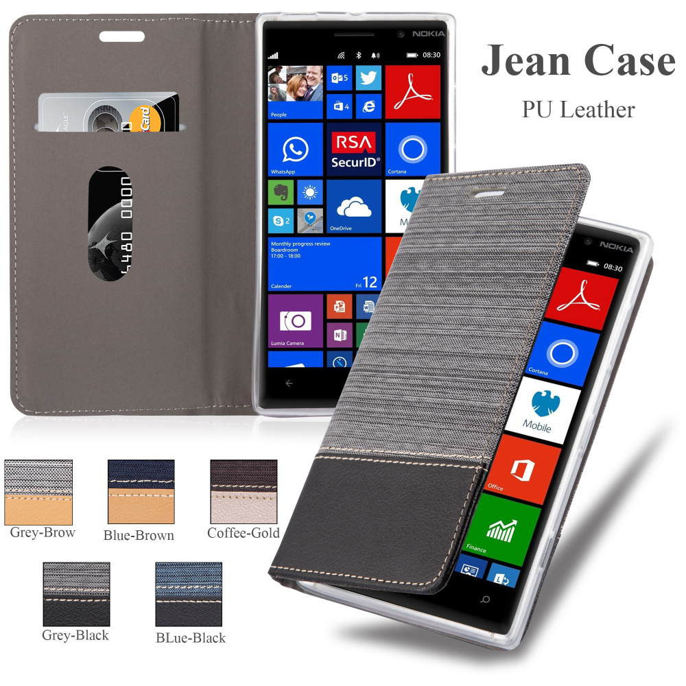 Jean Wallet Leather Flip Phone Case Back Cover For Nokia Lumia 830, For Nokia Lumia 830 Leather Case