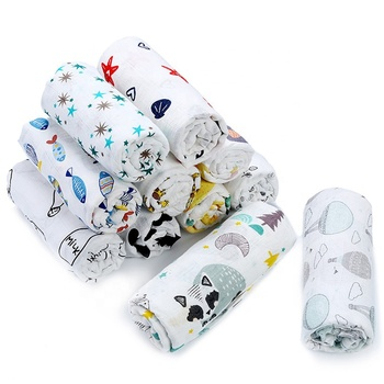 Free Sample Custom Super Soft Baby Cute Muslin Swaddle Blanket