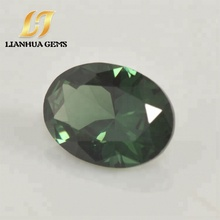 Factory price wholesale synthetic oval dark green loose 152 spinel gemstone