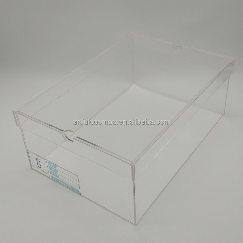 Clear Acrylic Shoe Show Box Rack Acrylic Wine Bottle Box In Display / Plexiglass Shoe Rack