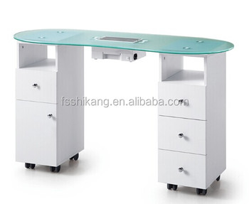 White Nail Salon Glass Top Manicure Table With Exhaust Fan