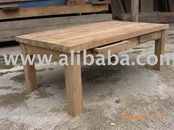 Coffee Table 2 Drawer Made Of Recycled Teak Wood Indonesia