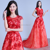 Pretty red color short seelve floor length african lace embroidery wedding dress from China