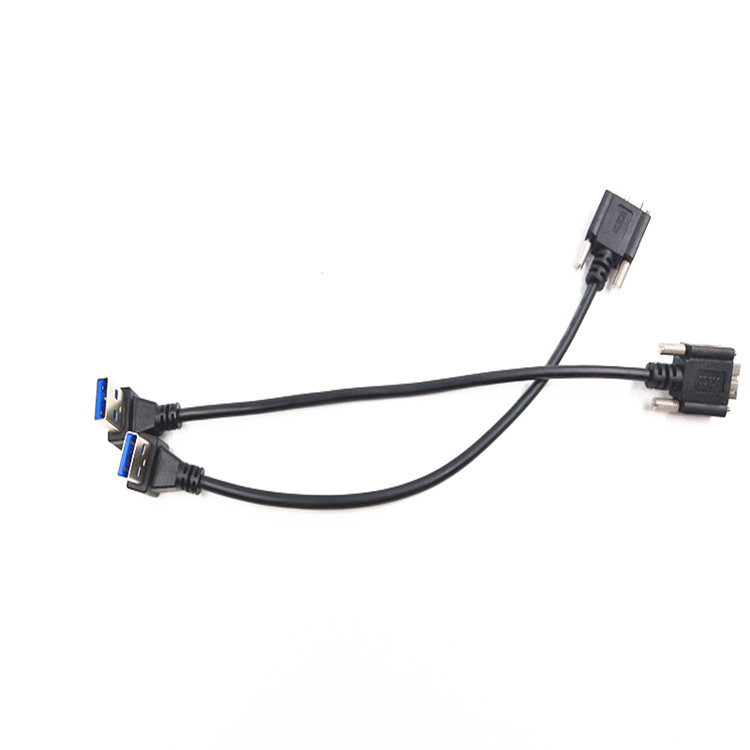 USB right angle USB AM to Mirco BM with screw extension cable