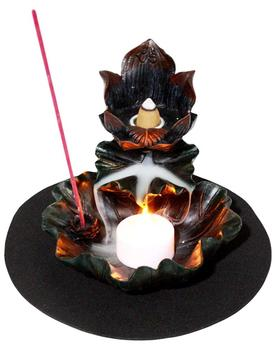 Feng Shui Zen Lotus Flower Incense Tower Burner and Candle Holder Statue Ohm Symbol Buddha Padma Incense Stick & Backflow Cone