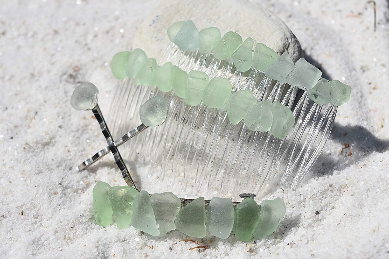 Genuine Surf Tumbled Aqua Sea Glass Hair Clip Set - Includes 2 Hair Combs, 1 60 mm French Barrette, 2 Hair Pins