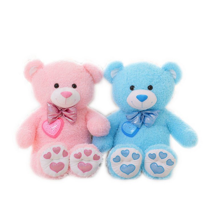 Wholesale baby sleeping soothing toy projection LED light stuffed bear