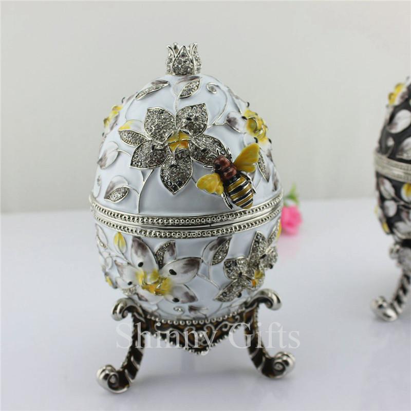 Grande taille abeille sur fleur faberg oeuf bijou bo te - Decoration boite oeuf ...
