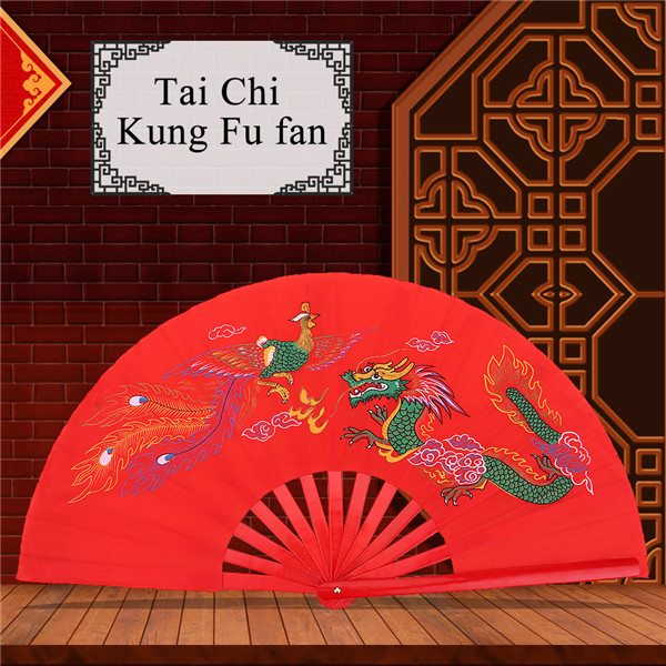 Fan de Tai Chi ventilador de seda chino de Kung Fu de los artes marciales de Kung Fu Fan de seda de la mano derecha de Wushu Funcionamiento de la danza Ventilador plegable de la mano del ventilador d
