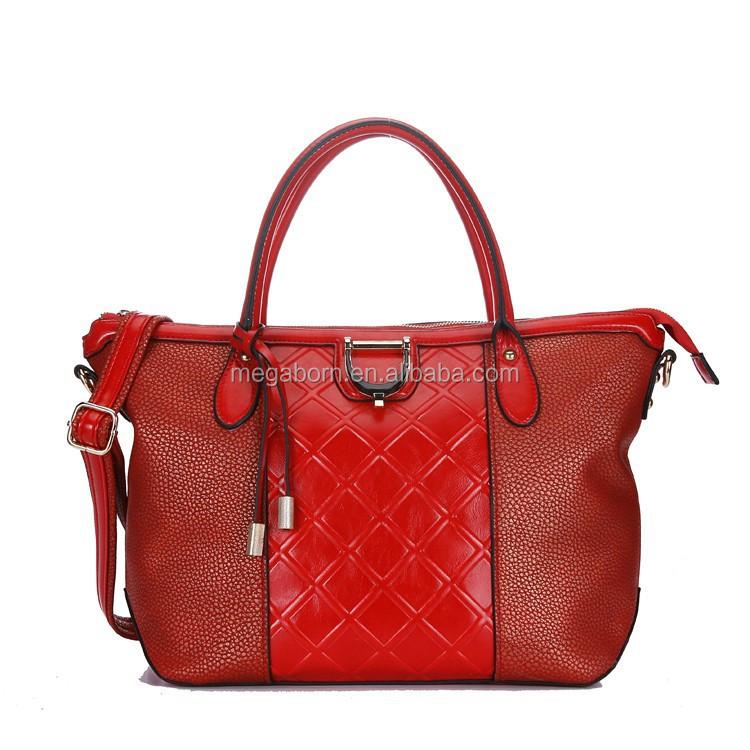 proveedor china nuevo enrejado rojo mezclado fashion handbag